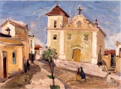 Mário Zanini , Igreja de São Vicente, São Vicente, SP, 1940, ost, 33 x 46, MACSP