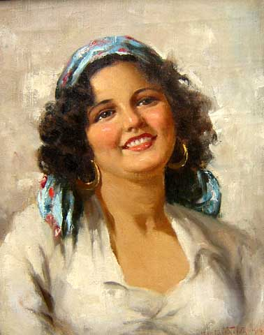 Oscar Pereira da Silva (1867-1939), Mulher, 1907, Óleo sobre tela, 51 x 41 cm