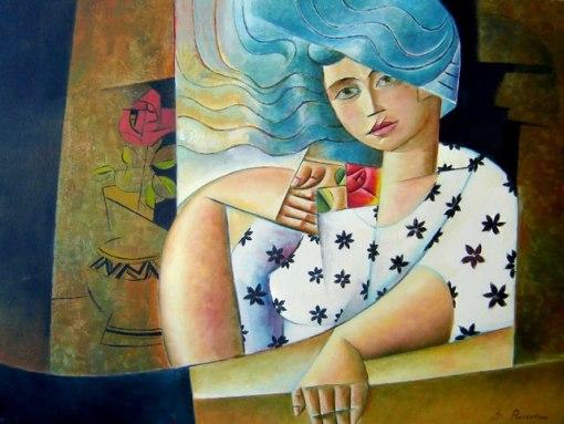 Severino Ramos (1963)Mulher com rosa vermelhaÓleo sobre tela60 x 80 cm