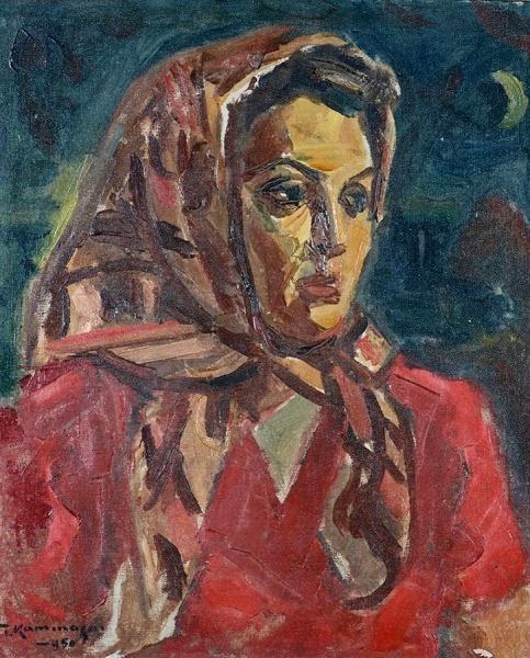 T.Kaminagai csua moldura própria - ost - lindos traços da figura feminina 1950 - 55x46 cm