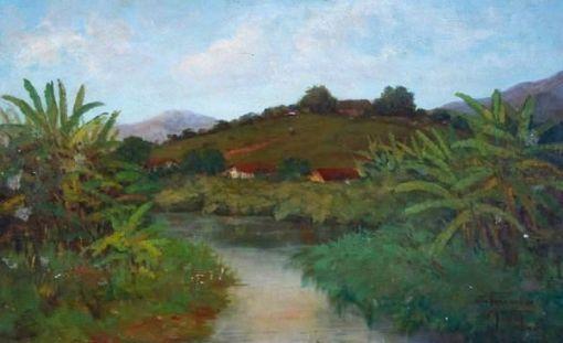 Walter Feder - Quadro á óleo sobre tela representando `Rio Piabanha`, datado de ...., medindo 65 x 41 cm