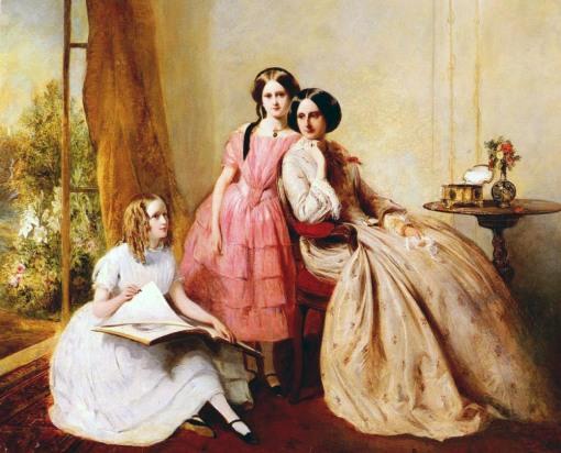 Abraham Solomon - Retrato de duas meninas e sua babá,Abraham Solomon (1823–1862)