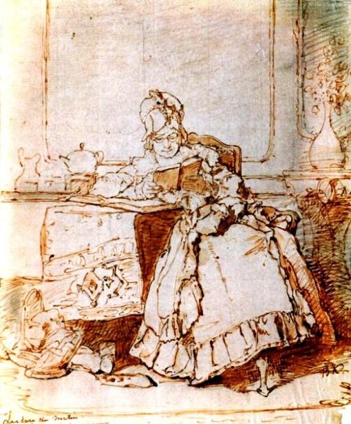 Alexander Hugo Bakker Korff ( Holanda 1824-1882) Leitura matutina, desenho, a nanquim aquarelado sobre papel, 22x18