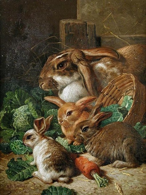 Alfred Richardson Barber (British, fl.1873-1893) A Rabbit Family with