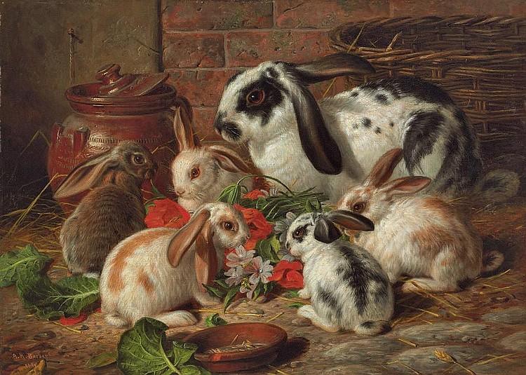 Alfred Richardson Barber (British, fl.1873-1893) Rabbits