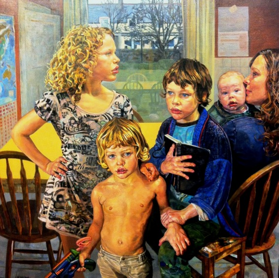 ANNA WIMBLEDON (GB, 1974)Portrait of The Artist and Her Family 47 x 47