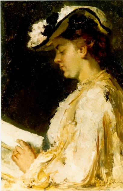 Lizzy Ansingh (1875-1959) Lezende vrouw met modieuze hoed