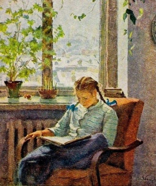 Arkady Plastov (Rússia, 1893-1972), menina lendo, ost