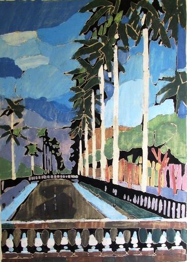 ARMANDO BALLONI (1901-1969) - Canal do Mangue, monotipia ctécnica mista scartão, med. 63 x 47,5cm, assinado e datado 1954 a lápis,