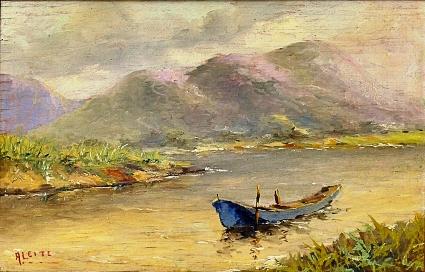 ARMANDO LEITE (SÉC.XIX-XX). Canoa em Repouso na Lagoa de Marapendi - Barra da Tijuca, óleo s madeira, 27 X 40. Assinado no c.i.e. e no verso (1949)