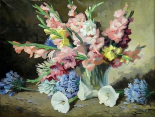 ARMANDO VIANNA (1897-1992). Vaso com Palmas e Copos de leite, óleo s cartão, 65 X 85. Assinado e datado (1959)