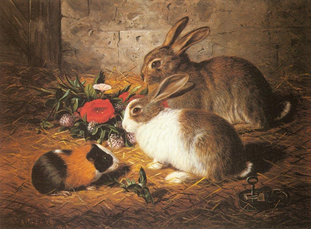 Barber-Alfred-R-Escaped-dois coelhos e um porquinho da india