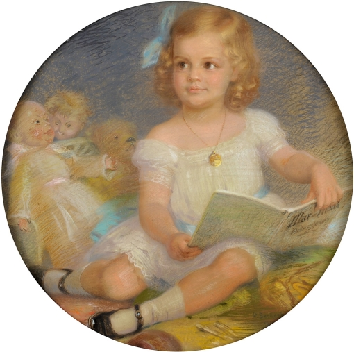 Beckert, Paul 1856 Lichtenstein-Sachsen - 1922 Olsberg Das Märchenbuch. Signiert. Datiert 1911. Pastell. Ø 70 cm
