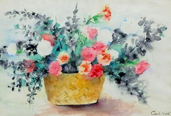Carlos leão (1906-1983) Vaso de flores, sd, aquarela, 36x53