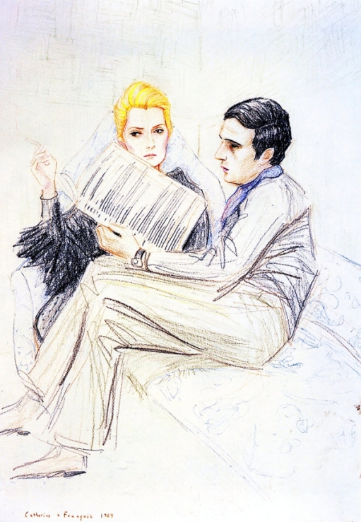 Catherine Deneuve and François Truffaut on the set of Mississippi Mermaid (2005, lápices de colores sobre papel), de Elizabeth Peyton(EUA, 1965)