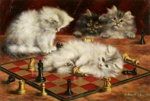 Cats-and-Chess-Board-by-Agnes-Augusta-Talboys-Oil-on-canvas-31.7-x-47-cm-Collection-Bristol-Museum-and-Art-Gallery