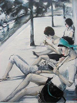 Christine Reilly (Australia, contemporanea) Free Time,o e acr sobre tela, 50 x 60cm