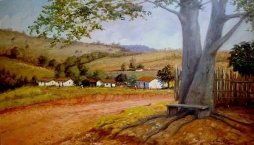 Clóvis Pescio (Brasil, 1951)- Fazenda - Óleo sobre tela - 70x120cm - acid - datado de 1999