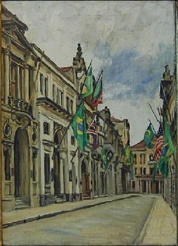 Dario Villares Barbosa, Rua 15 de Novembro – Santos, s.d., óleo sobre tela, 46 X 33, PESP