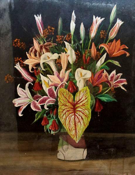 Evilásio Lopes (1917 - 2013 Rio de Janeiro) sem assinatura, OST natureza morta vaso de flores 65 cm por 50 cm