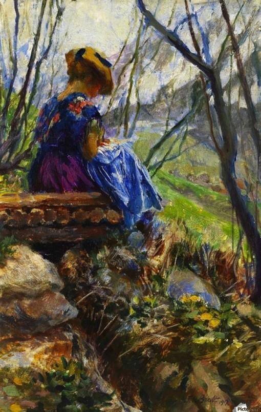 FERDINAND MAX BREDT (Alemanha, 1860-1921) - Moça lendo - Óleo sobre painel - 38,9 x 25,7 - 1860