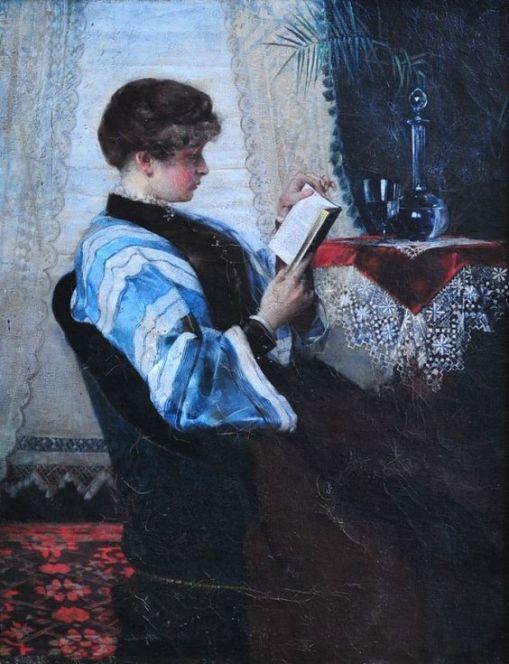 FERDINAND MAX BREDT (Alemanha, 1860-1921) - Senhora lendo - Óleo sobre painel - 38,9 x 25,7 - 1860