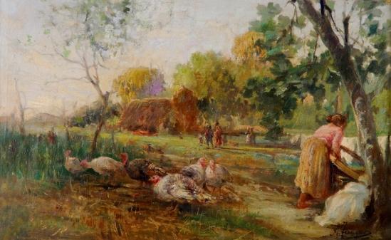 FERRIGNO, Antônio (1863 - 1940) Quintal, ost,- 27 x 44 cm
