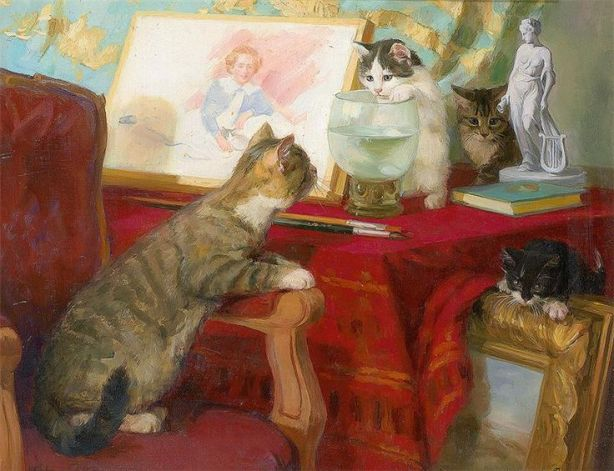 Four-Kittens-in-a-Studio-Agnes-Augusta-Talboys