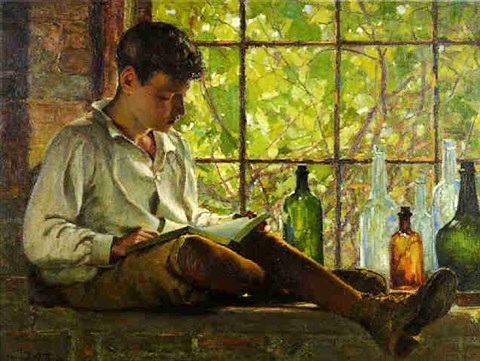 George Agnew Reid - In the Cellar Window,ost,1914, 76 x 101cm
