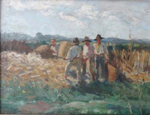 GEORGINA DE ALBUQUERQUE (1885 - 1962) - Colheita, o.s.e., 29,5 X 38,5 cm,
