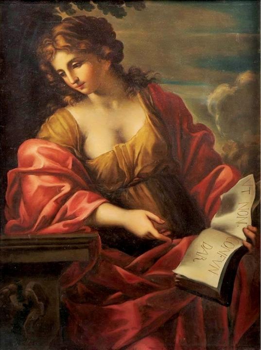 Giovanni Francesco Romanelli (Italia, 1610-1662), Sibila de Cumas,ost, 134 x 95 cm Museu Nacional de Capodimonte, Nápoles