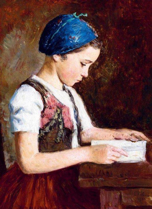 Glatz Oszkar, 1872-1958, Capuz azul, ou a lição, 1945, ost, 62 x 46 cm