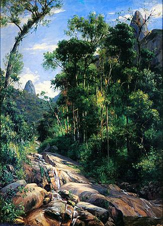 GRIMM Johann Georg 1846-1887 - Cascatinha em Teresópolis 1885 - óleo 62 x 47 cm
