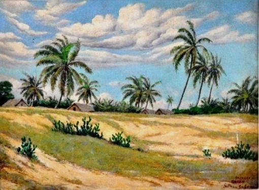 GUTMAN BICHO - Pajuçara, Maceió, Alagoas óleo sobre tela, 60X80cm. Assinado 1941