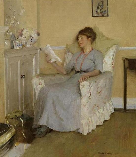 HAROLD C. HARVEY (GN, 1874-1941)-, a hora do lazer, retrato de Gertrudes lendo, a esposa do artista, 1917, ost, 41x36cm