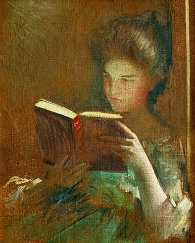 john-white-alexander-an-interesting-book-c1901John White Alexander - An Interesting Book c1901