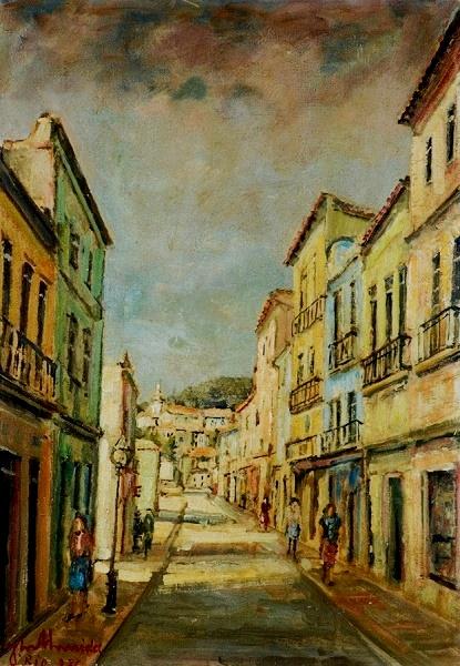 JOSÉ MARIA DE ALMEIDA - Rua do Lavradio - ost - 65 x 46 - Datado 1976