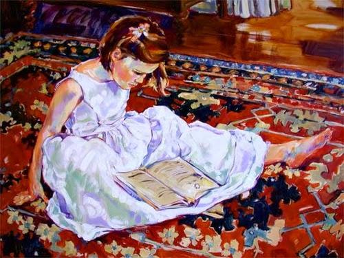 Kinser, Karen (EUA, 1951-...) menina lendo no tapete