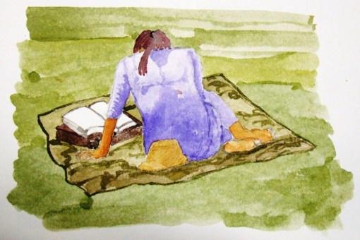 Luciano Ogura, (Brasil, SP, 1973)leitura, Parque da Aclimação,aquarela sobre papel,