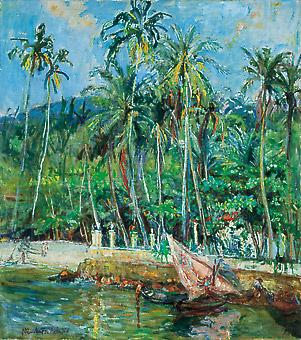 Marie Nivoulies de Pierrefort (1879-1968) Praia de Paquetá, c1940, ost, 97x87