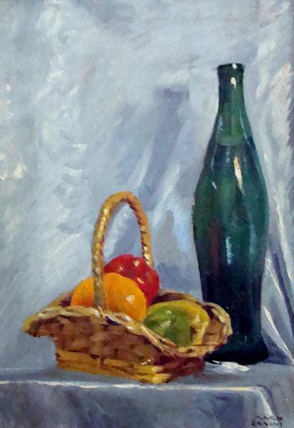 Mario Zanini - frutas e garrafa, óleo sobre tela, medindo 45cm x 30cm
