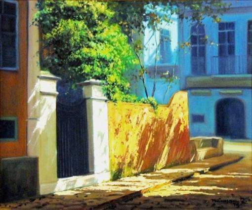 PEDRO NASCIMENTO (1927-1986)Largo do Boticário - Rio, óleo s tela, 46 X 55. Assinado e datado (1979) no c.i.d. e no verso.