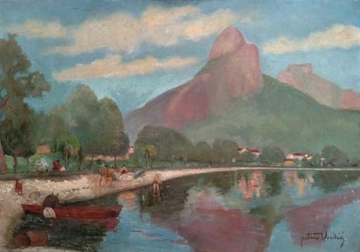 Petrus Verdié (Firminy, França, em 1875 Rio de Janeiro em 1951.) óleo sobre tela Lagoa Rodrigo de Freitas, Dois Irmãos e Pedra da Gávea medindo 65 cm por 91 cm