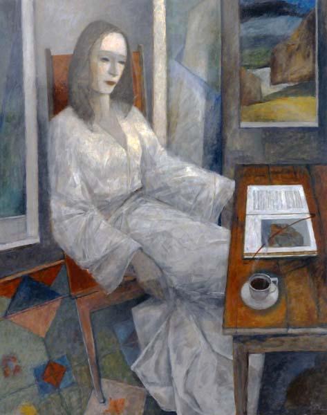 Pierre Lefebvre (Canadá, 1954), Mulher de branco, ospl, 100 x 80cm