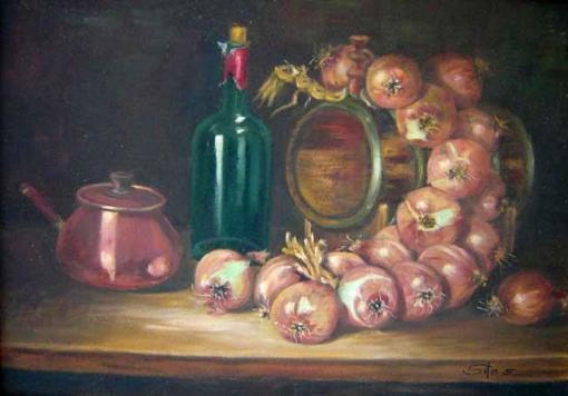 Silas - Silvana S. Assad (1922) Trança de cebolas (1997)Óleo sobre tela ,50 x 70 cm
