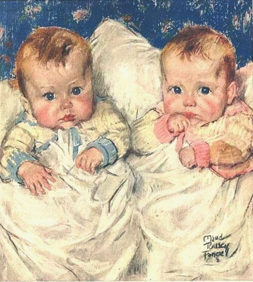 Vintage 1921 Very Cute Babies Illustration Print by Maud Tousey Fangel Girl and Boy