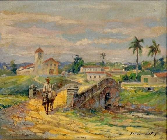 YAREMA OSTOG (Austria, 1910- Brasil+ 1996) - Paisagem de Cuiabá,, O.S.T, 1950,38x46 c