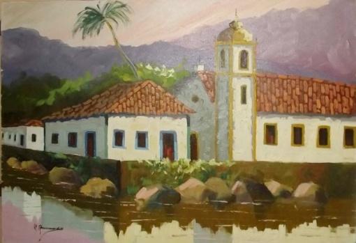 Antônio Amâncio - Ost representando Goias Velho (artista no MEC) datado 1990 med. 70x50 cms