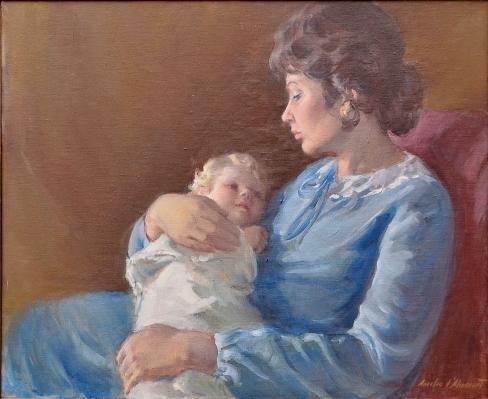 AURELIO D'ALINCOURT (1919-1990). Maternidade, óleo s tela, 66 X 81.