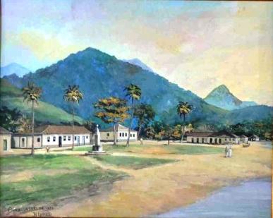 Benedito Calixto - Caraguatatuba - Guache sobre Cartão - 40x50 - 1920 -